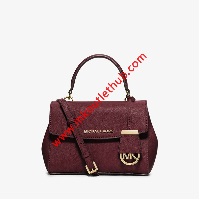 MICHAEL Michael Kors Ava Extra-Small Saffiano Leather Crossbody Burgundy