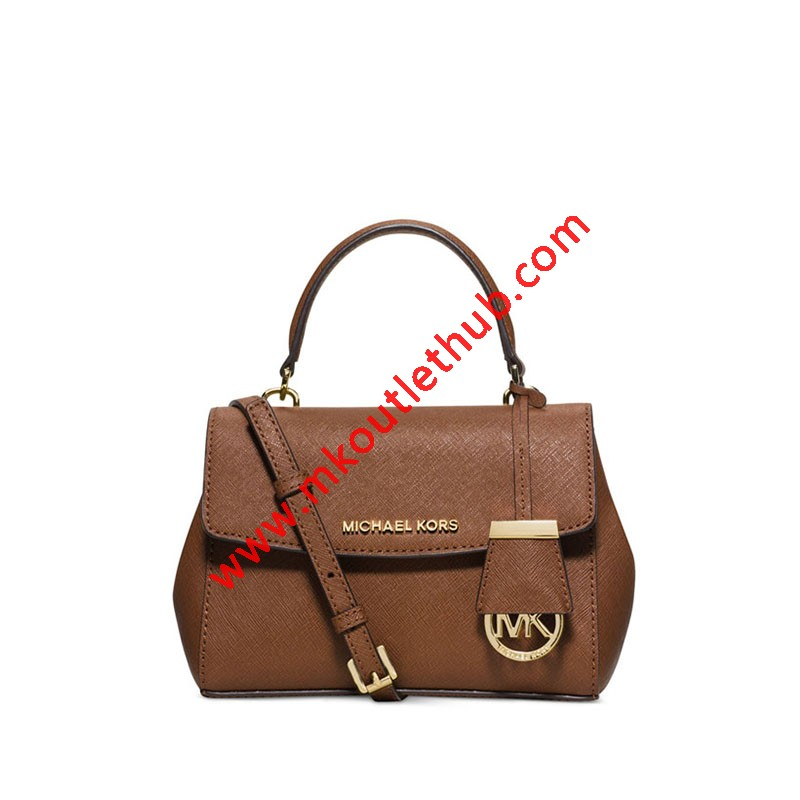 MICHAEL Michael Kors Ava Small Saffiano Leather Satchel Brown