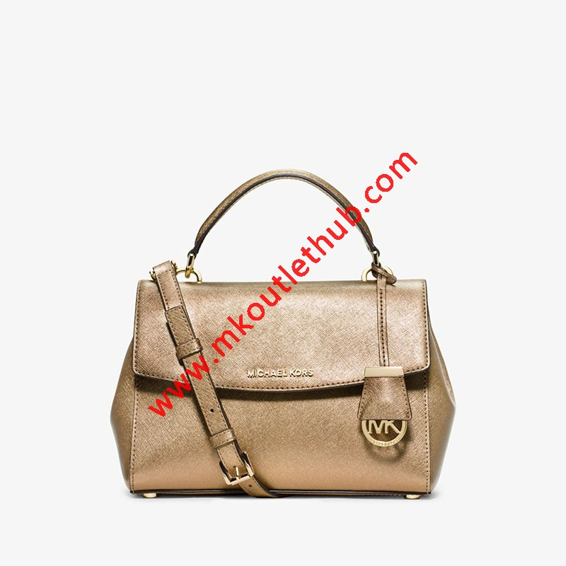 MICHAEL Michael Kors Ava Small Saffiano Leather Satchel Gold