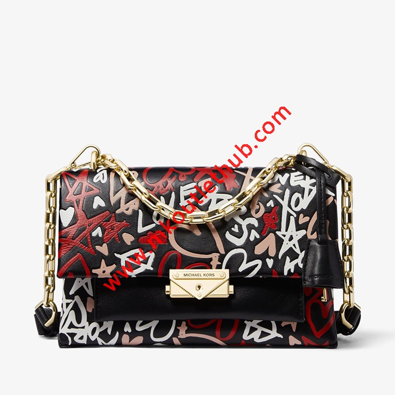 MICHAEL Michael Kors Cece Medium Qixi Graffiti Shoulder Bag Black