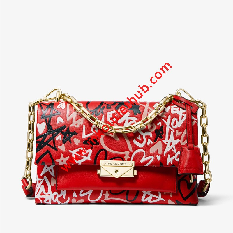 MICHAEL Michael Kors Cece Medium Qixi Graffiti Shoulder Bag Red