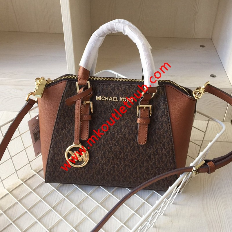 MICHAEL Michael Kors Ciara Small Logo And Leather Satchel In Brown