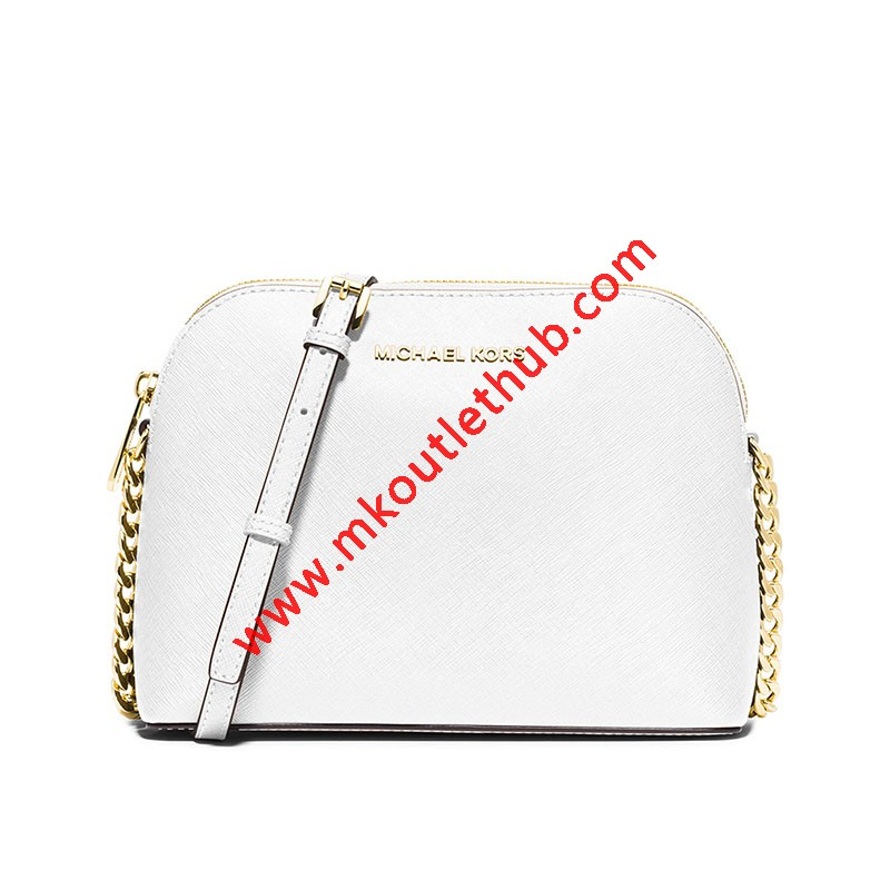 MICHAEL Michael Kors Cindy Saffiano Leather Crossbody White