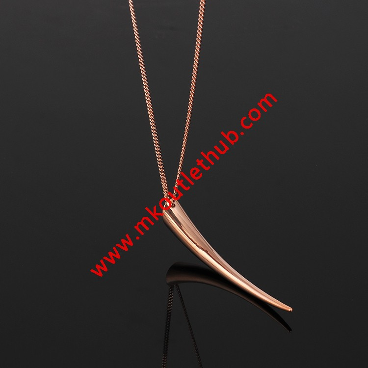 Cheap Michael Kors Rose Gold-Tone Glossy Horn Pendant Necklace