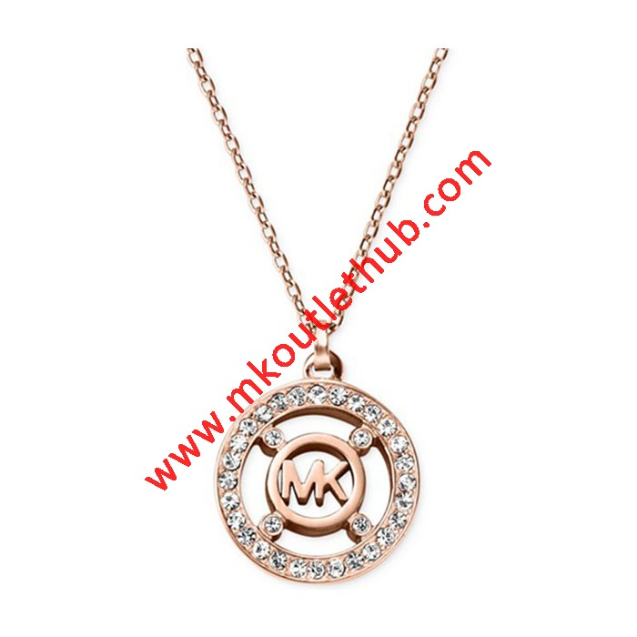 Cheap Michael kors Rose Gold-Tone Crystal Disc Logo Pendant Necklace