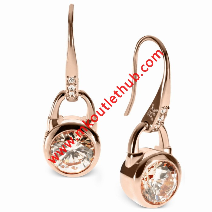 Cheap Michael Kors Rose Gold-Tone Crystal Padlock Drop Earrings