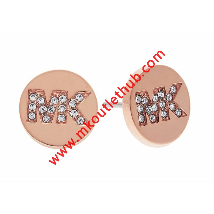 Cheap Michael Kors Rose Gold-Tone Crystal MK Logo Stud Earrings