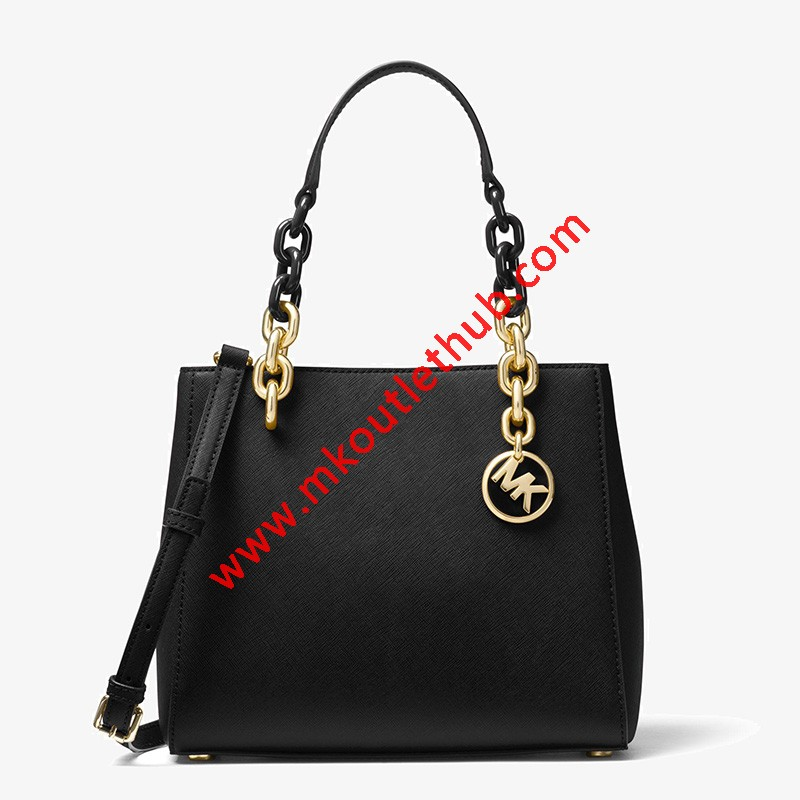 MICHAEL Michael Kors Cynthia Small Leather Satchel Black