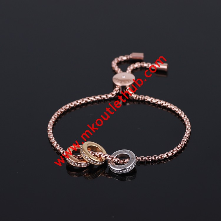 Cheap Michael Kors Rose Gold-Tone Diamond Rings Charm Bracelet