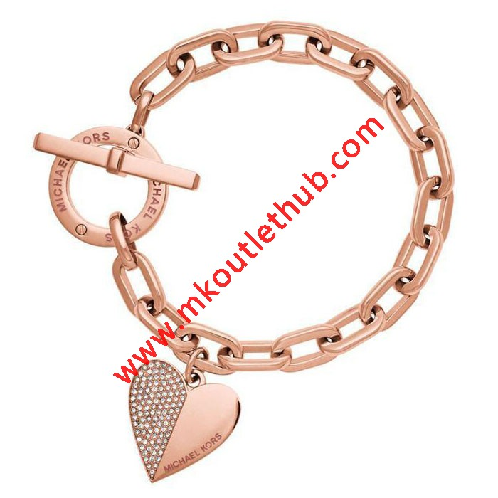 Cheap Michael Kors Rose Gold-Tone Heart Charm Toggle Bracelet