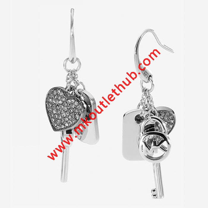 Cheap Michael Kors Silver-Tone Heart Key Tag Charm Drop Earrings