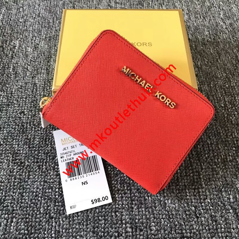 MICHAEL Michael Kors Jet Set Medium Travel Zip-Around Wallet Red