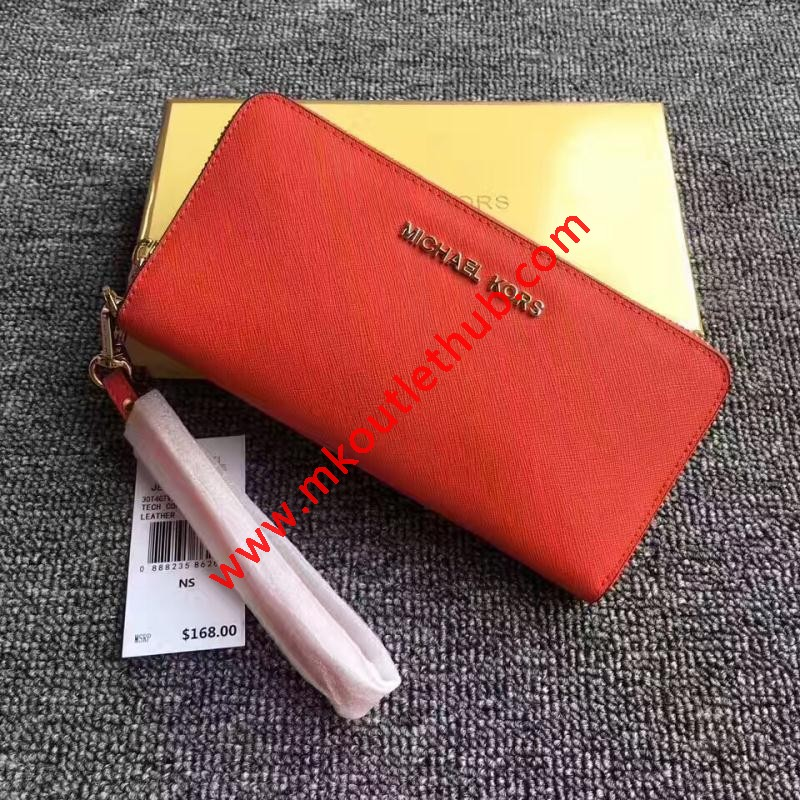 MICHAEL Michael Kors Jet Set Saffiano Leather Continental Wallet Red