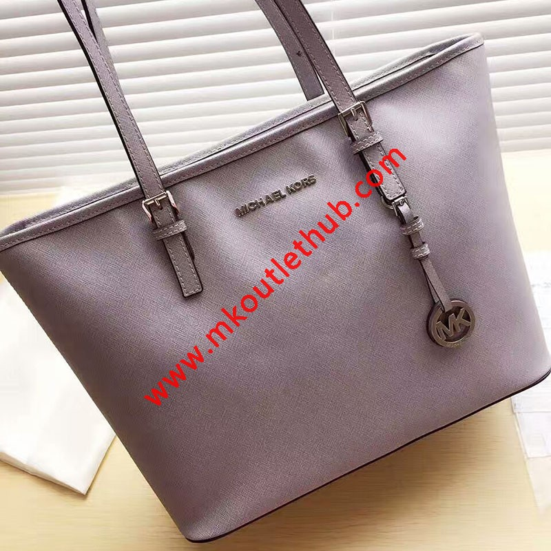 MICHAEL Michael Kors Jet Set Travel Saffiano Leather Top-Zip Tote Grey