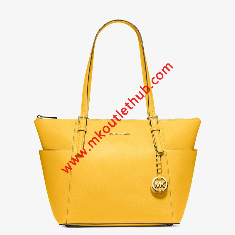 MICHAEL Michael Kors Jet Set Large Top-Zip Leather Tote Yellow