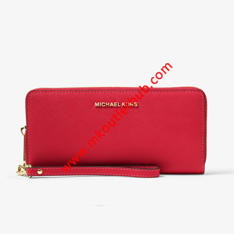 MICHAEL Michael Kors Jet Set Travel Leather Continental Wristlet Red