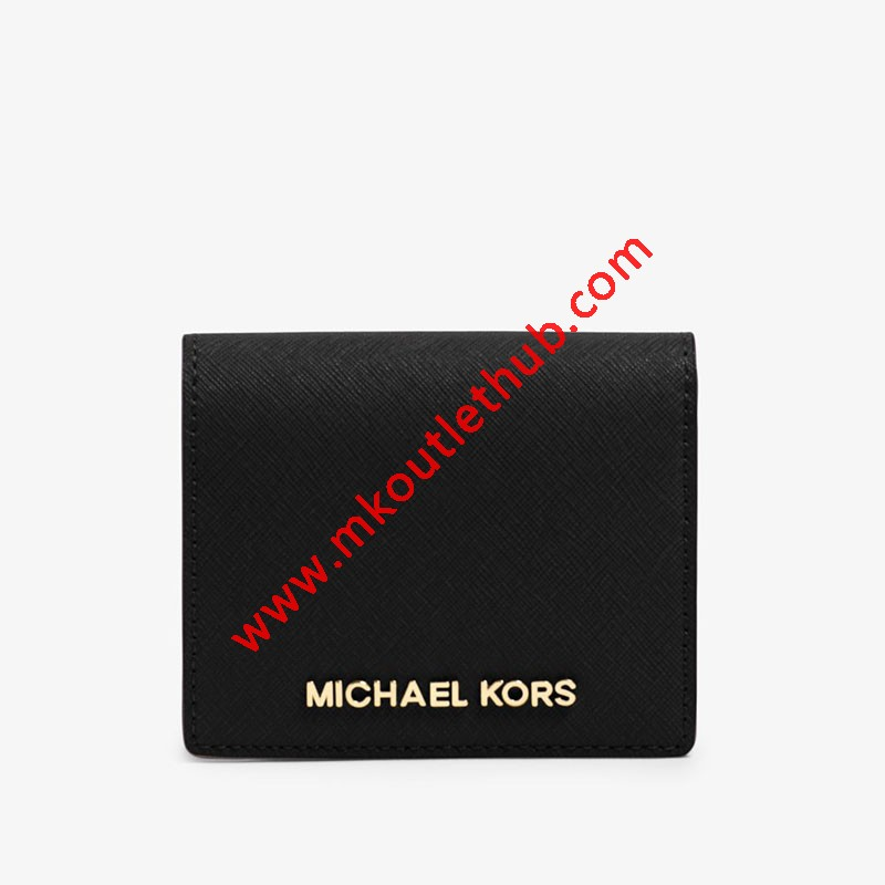 MICHAEL Michael Kors Jet Set Travel Flap Leather Card Holder Black