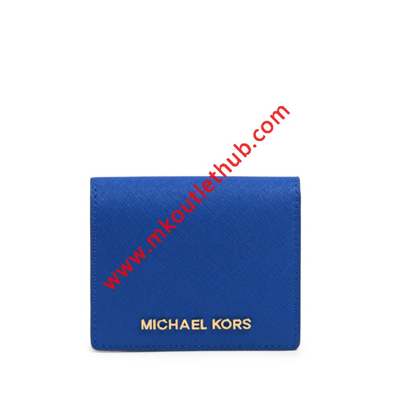 MICHAEL Michael Kors Jet Set Travel Flap Leather Card Holder Blue