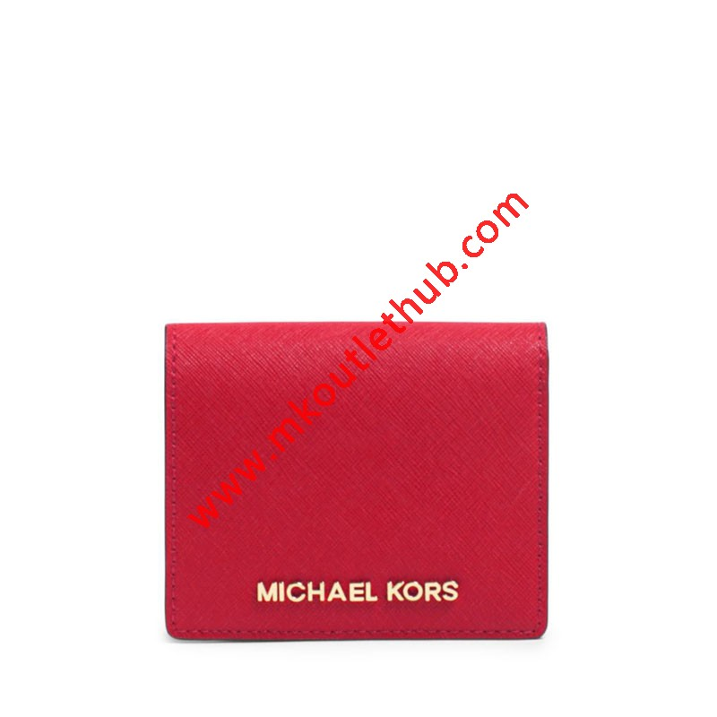 MICHAEL Michael Kors Jet Set Travel Flap Leather Card Holder Red