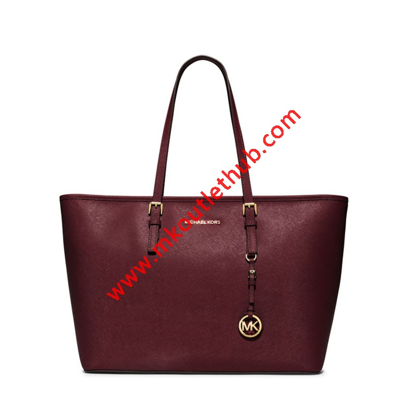 MICHAEL Michael Kors Jet Set Travel Large Saffiano Leather Top-Zip Tote Burgundy