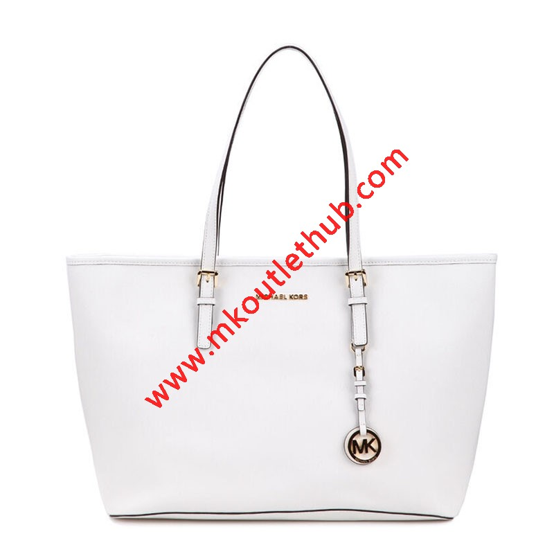 MICHAEL Michael Kors Jet Set Travel Large Saffiano Leather Top-Zip Tote White