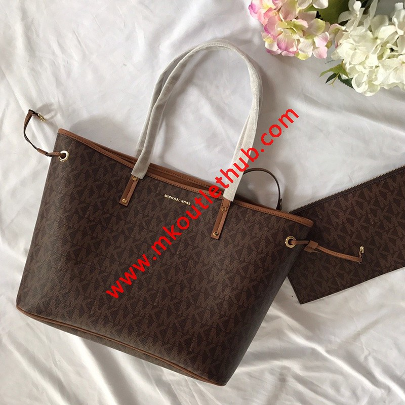 MICHAEL Michael Kors Voyager Large Logo Pebbled Leather Tote Bag Brown