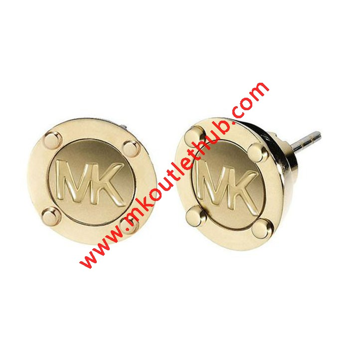 Cheap Michael Kors Gold-Tone Logo Button Stud Earrings