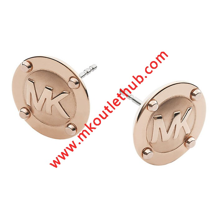 Cheap Michael Kors Rose Gold-Tone Logo Button Stud Earrings