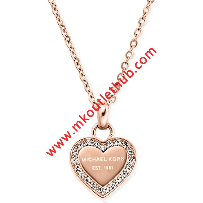 Cheap Michael Kors Rose Gold-Tone Logo Crystal Heart Pendant Necklace