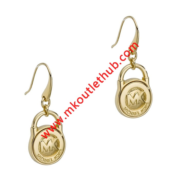 Cheap Michael Kors Gold-Tone Logo Padlock Drop Earrings