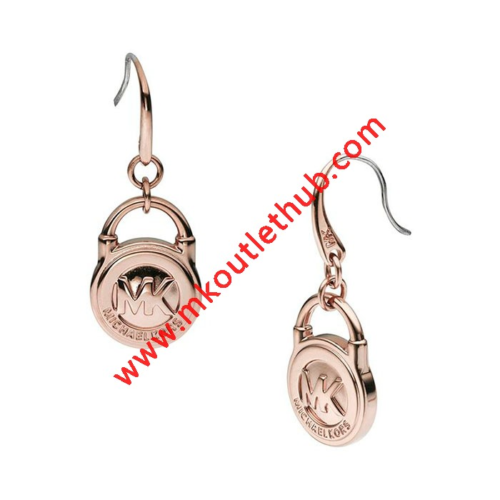 Cheap Michael Kors Rose Gold-Tone Logo Padlock Drop Earrings