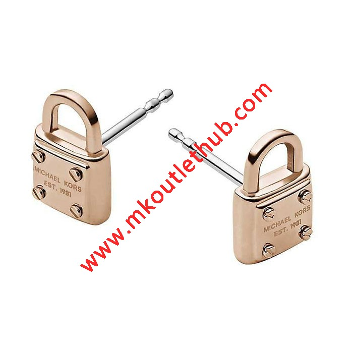 Cheap Michael Kors Rose Gold-Tone Logo Padlock Stud Earrings