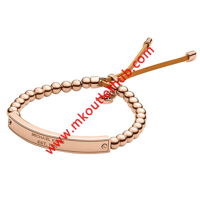 Cheap Michael Kors Rose Gold-Tone Logo Plaque Bead Adjustable Bracelet