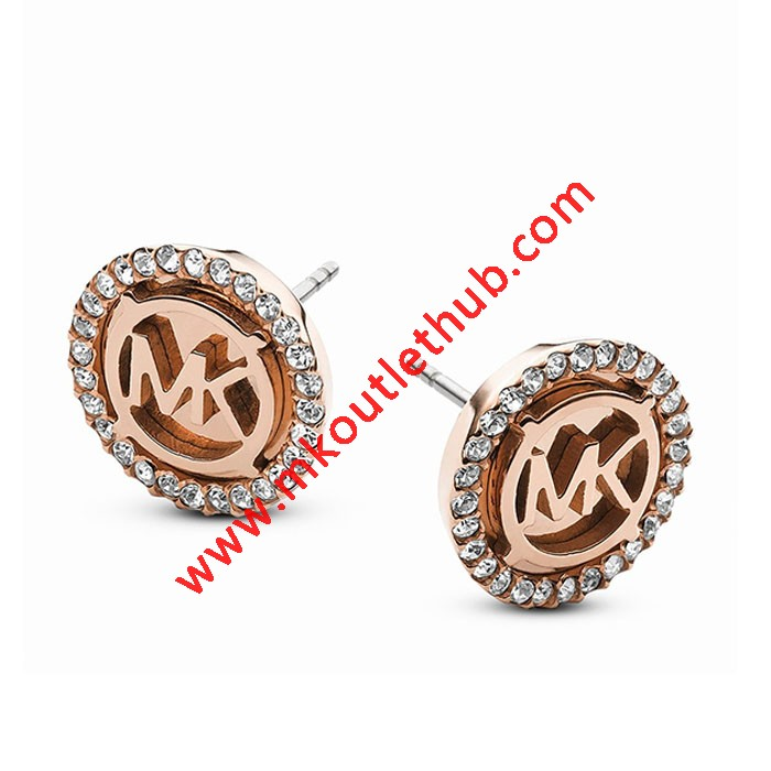 Cheap Michael Kors Rose Gold-Tone Logo MK Crystal Disc Stud Earrings