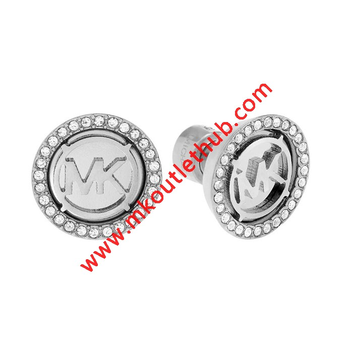 Cheap Michael Kors Silver-Tone Logo MK Crystal Disc Stud Earrings