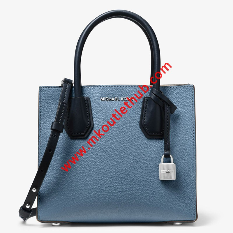 MICHAEL Michael Kors Mercer Color-Block Leather Tote Sky Blue