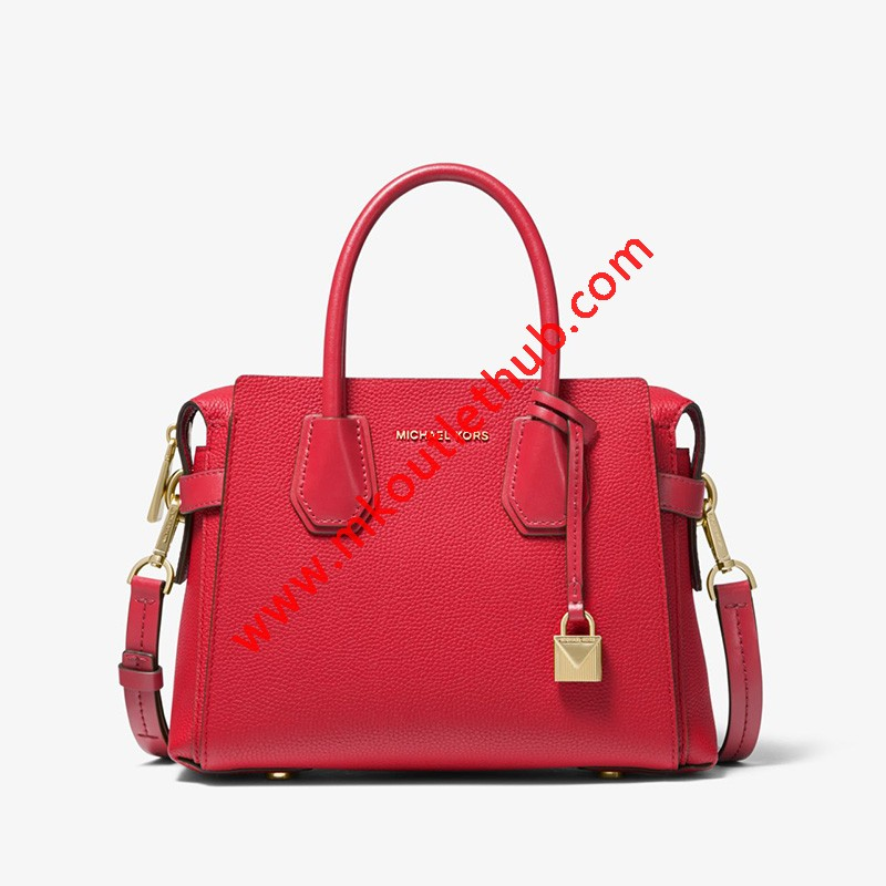 MICHAEL Michael Kors Mercer Small Pebbled Leather Belted Satchel Red