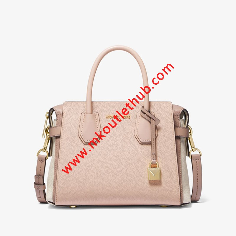 MICHAEL Michael Kors Mercer Small Tri-Color Pebbled Leather Belted Satchel Pink