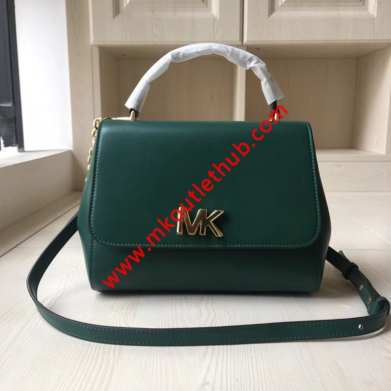 MICHAEL Michael Kors Mott Small Leather Satchel Green