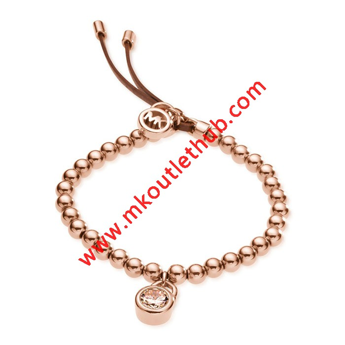 Cheap Michael Kors Rose Gold-Tone Padlock Beads Adjustable Bracelet