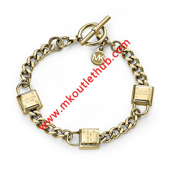 Cheap Michael Kors Gold-Tone Padlocks Chain Toggle Bracelet