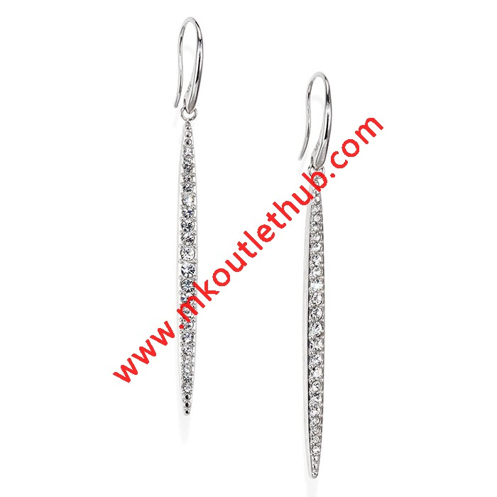 Cheap Michael Kors Silver-Tone Pave Crystal Matchstick Drop Earrings