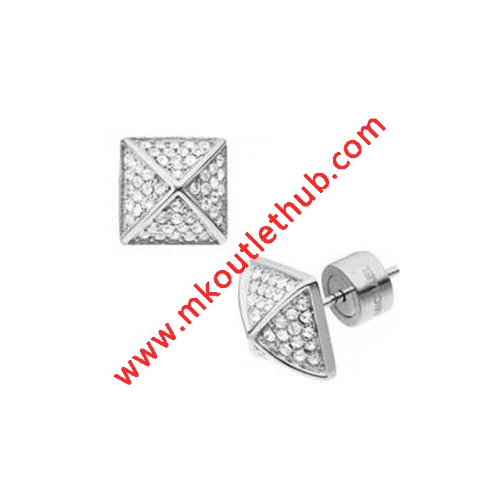 Cheap Michael Kors Silver-Tone Pave Crystal Pyramid Stud Earrings