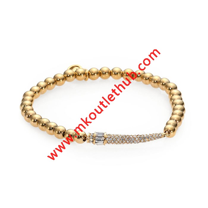 Cheap Michael Kors Gold-Tone Pave Horn Beaded Stretch Bracelet