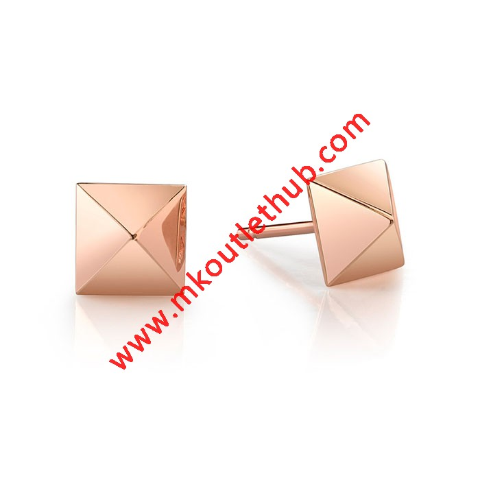 Cheap Michael Kors Rose Gold-Tone Pave Pyramid Stud Earrings