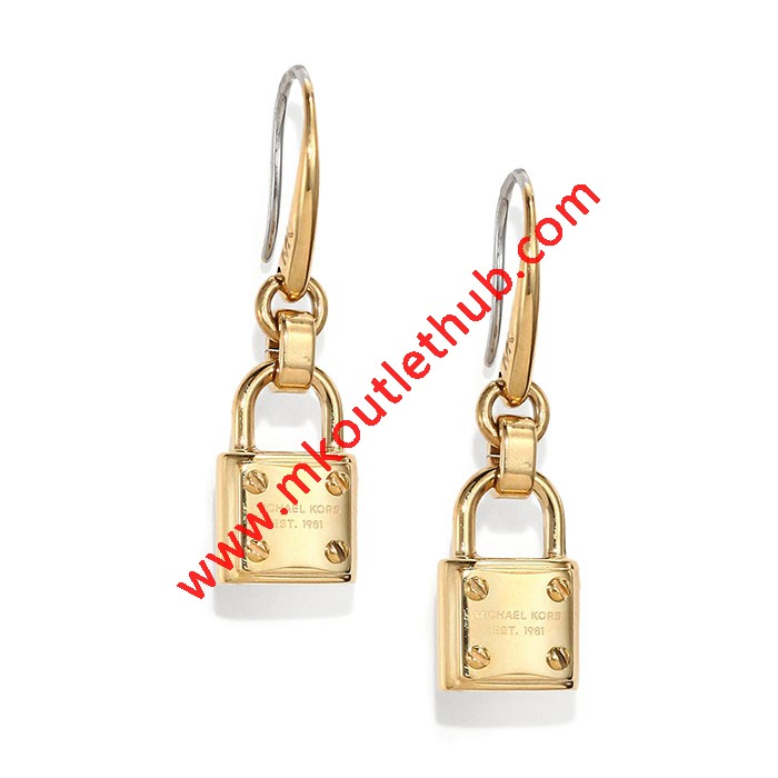 Cheap Michael Kors Gold-Tone Logo Plaque Padlock Drop Earrings