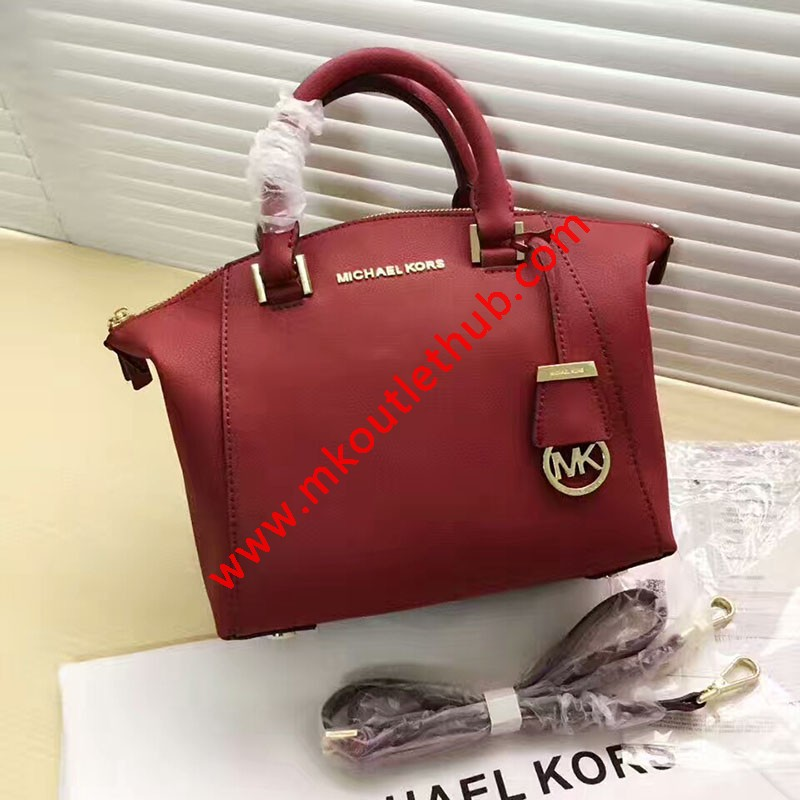 MICHAEL Michael Kors Riley Pebbled-Leather Satchel Burgundy