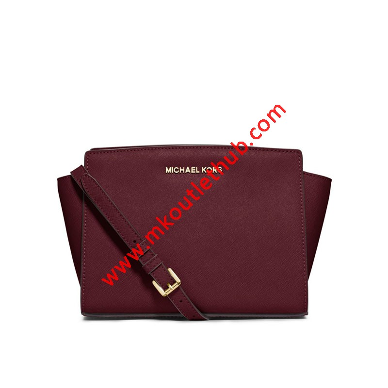MICHAEL Michael Kors Selma Medium Saffiano Leather Messenger Burgundy