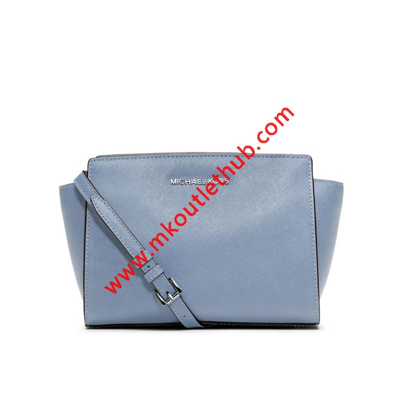 MICHAEL Michael Kors Selma Medium Saffiano Leather Messenger Sky Blue