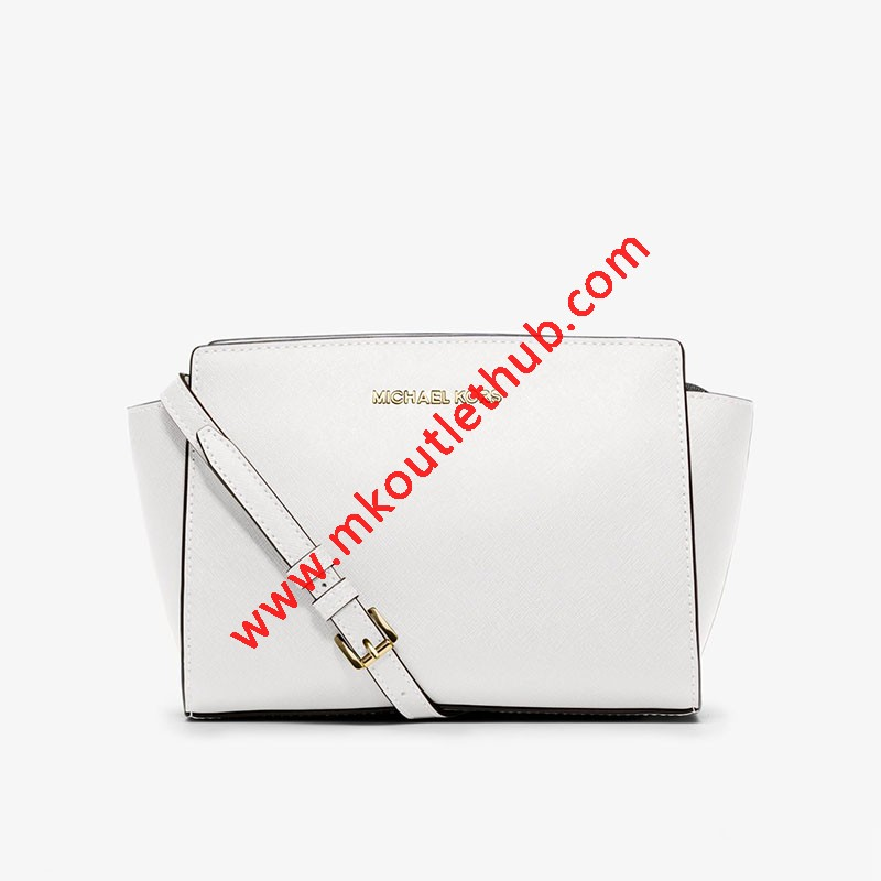 MICHAEL Michael Kors Selma Medium Saffiano Leather Messenger White